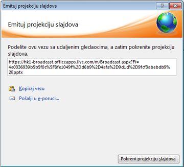 """Dijalog """"Emitovanje projekcije slajdova"""" sa URL adresom za projekciju slajdova."""