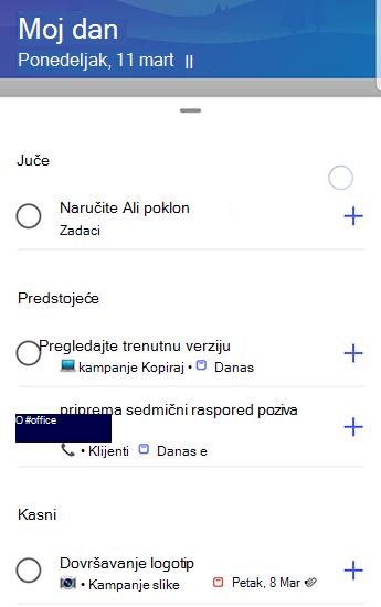 Snimak ekrana zaduženja u programu Android sa pomoću predloga potpuno otvorenih i grupisanih do juče, predstojećih i kašnjenja.