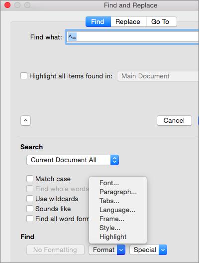 Prikazuje opcije formatiranja