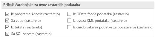 """Slika opcija """"nabavite & zastareli čarobnjak iz stavke > opcije > podataka."""