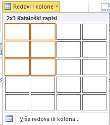 Redovi i kolone rasporeda stranice kataloga