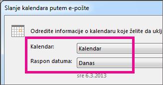 """U dijalozima """"Kalendar"""" i """"Opseg podataka"""" izaberite željene opcije"""