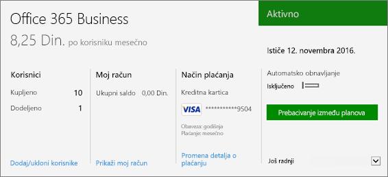 """Snimak ekrana pretplate na stranici """"Pretplate"""" Office 365 centra administracije koji prikazuje koju pretplatu imate, kao i njen status."""