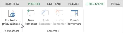"""Snimak ekrana prikazuje karticu """"Redigovanje"""" sa kursorom koji pokazuje na opciju """"Kontrolor pristupačnosti""""."""