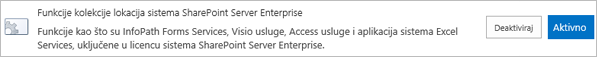 Aktiviranje funkcije kolekcije lokacija za SharePoint Server Enterprise