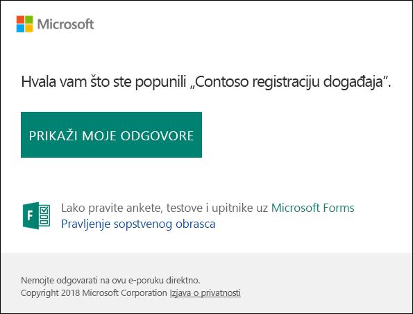 E-poruku o potvrdi i veza ka odgovora u programu Microsoft Forms