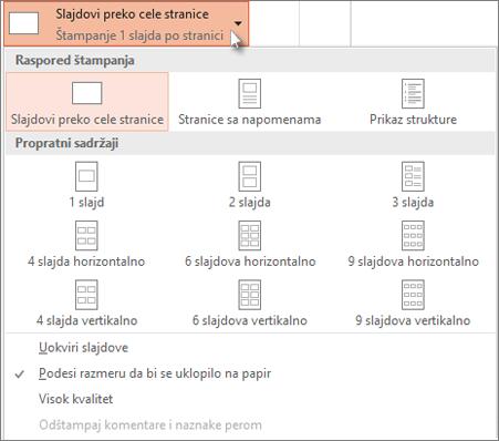 Izbor rasporeda za štampanje