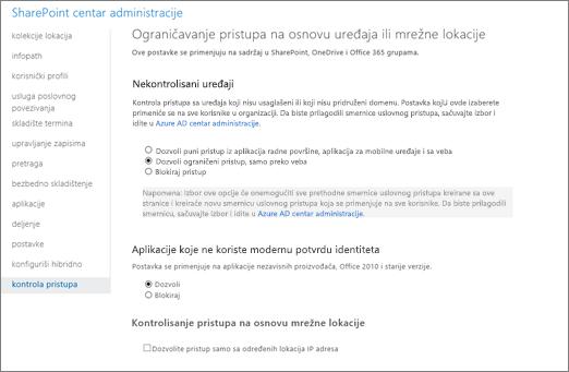 Ograničen pristup postavku na stranici kontrolu pristupa