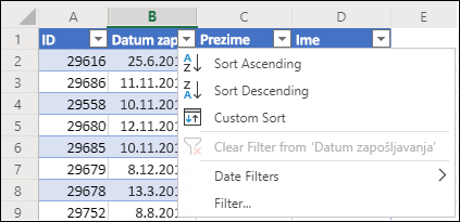 Koristite Excel filter tabele da biste sortirali po rastućem ili opadajućem redosledu