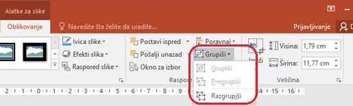 """Komandu """"Razgrupiši"""" na kartici """"Oblikovanje"""" na traci programa PowerPoint, u okviru alatke za slike."""