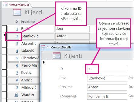 Klik na ID u obrascu sa više stavki da bi se otvorio obrazac sa jednom stavkom.