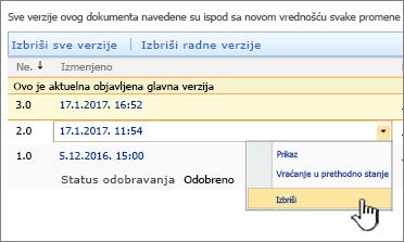 """Kreiranje verzija padajuću listu na datoteci sa opcijom """"Izbriši"""" markirana"""