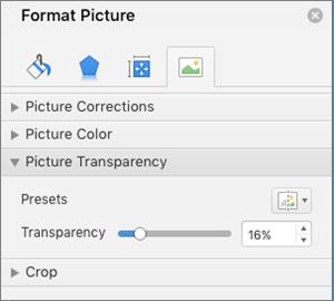 """Prilagođavanje prozirnosti boje u oknu """"Oblikovanje slike"""""""