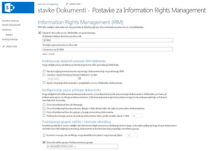 Postavke usluge Information Rights Management