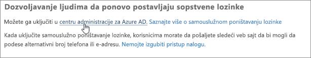 Odaberite vezu da biste otišli u Azure centar administracije.
