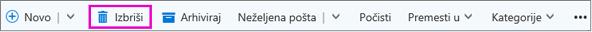 "Dugme ""Izbriši komentar"" na traci u programu Outlook"