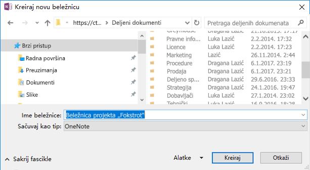 """Dijalog """"Kreiraj novu beležnicu"""" u programu OneNote za Windows 2016"""