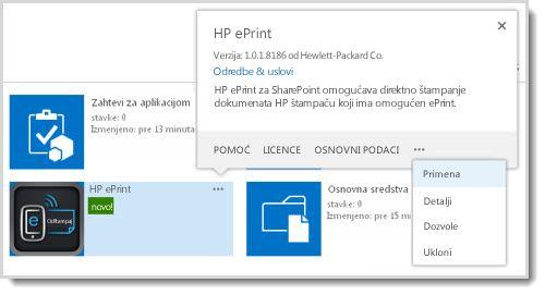 """Komanda """"Primena"""" dostupna je u oblačiću svojstava za aplikaciju na lokaciji """"Katalog aplikacija""""."""
