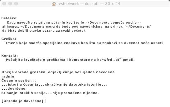 Pokretanje alatke Dockutil korišćenje Control + klik za otvaranje.