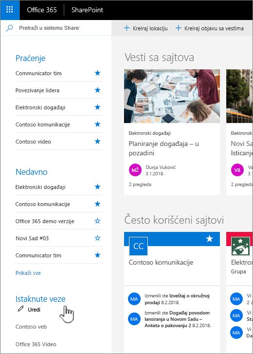 Listu veza na SharePoint online – matična stranica