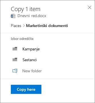 Snimak ekrana izbor lokacije prilikom kopiranja datoteke u sistemu SharePoint