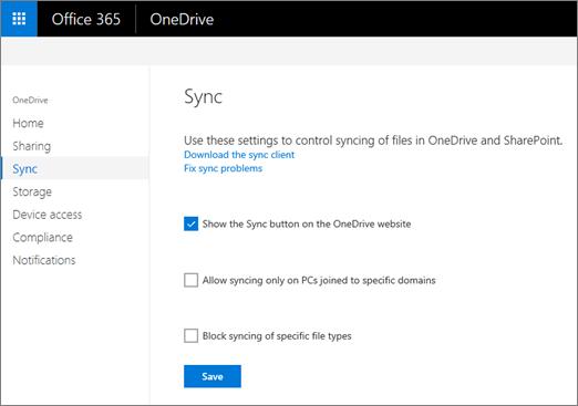 """Kartica """"Sinhronizovanje"""" u OneDrive centru administracije."""