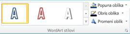 """Grupa """"WordArt stilovi"""" u programu Publisher 2010"""