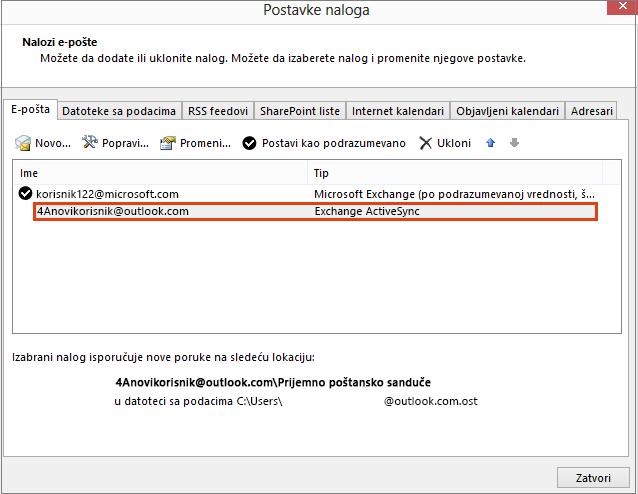 Postavke naloga u programu Outlook, nalozi e-pošte