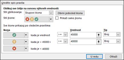 Uslovno oblikovanje sa dijalogom sa opcijama za skup ikona