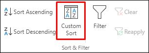 Excel opcije prilagođenog sortiranja na kartici Podaci
