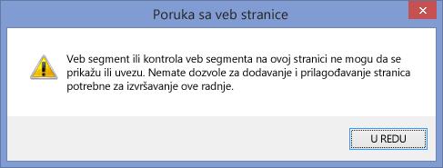 Poruka o grešci koja se prikazuje kad je izvršavanje skripti onemogućeno na lokaciji ili kolekciji lokacija