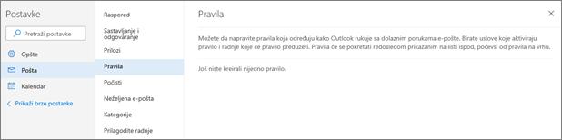 Snimak pokazuje stranicu pravila u prikazu Pošta u Postavke za Outlook.com.
