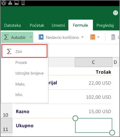 Excel za Android – meni za pristup na traci