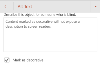 Označite kao dekorativno izabrano u dijalogu alternativni tekst u programu PowerPoint za android.
