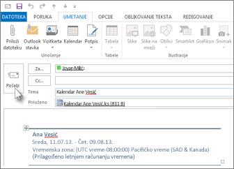 Slanje kalendara kolegi e-poštom