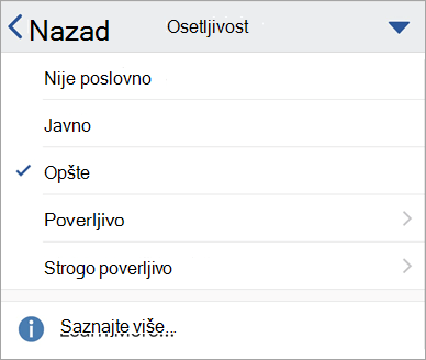 Snimak ekrana oznaka osećajnosti u sistemu Office za iOS
