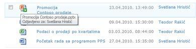 Opis alatke koji se pojavljuje ispod ikone odjavljene datoteke omogućava korisniku da sazna ime datoteke i ko ju je odjavio.