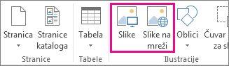 """Snimak ekrana opcija """"Umetanje slika"""" u meniju """"Umetanje"""" u programu Publisher."""
