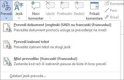 Prevođenje dokumenta ili poruke