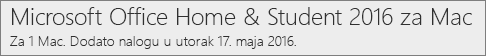 Kako se Mac verzija sistema Office 2016 prikazuje na sajtu Office.com/myaccount