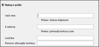 Unesite adresu e-pošte i lozinku za Exchange