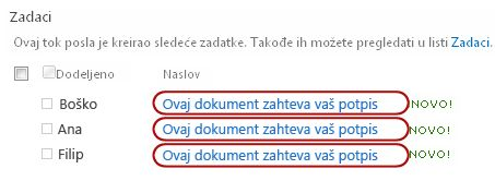 Identifikovanje teksta u naslovu zadatka na stranici sa statusom toka posla
