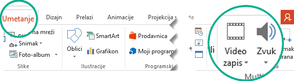 """U programu PowerPoint, na traci sa alatkama, na kartici """"Umetanje"""" izaberite dugme """"Zvuk"""" ili """"Video""""."""
