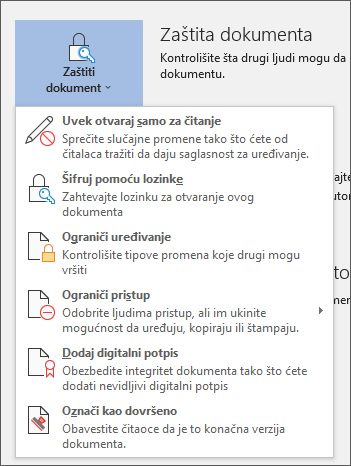 "Meni ""Zaštiti dokument"" u programu Word za Office 365"