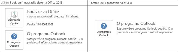 """Grafika koja prikazuje kako da znate da li je Office 2013 instalacija """"klikni i pokreni"""" ili je zasnovana na MSI-ju"""
