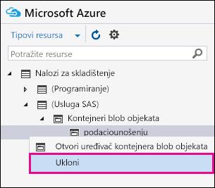Kliknite desnim tasterom miša strihnina i kliknite na dugme ukloni da prekinete vezu sa oblast svog Azure skladišta