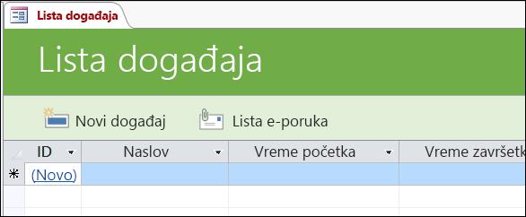 Obrazac liste događaja u predlošku Access baze podataka za događaje