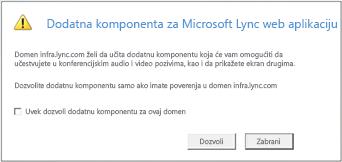 Lync Web Access – uvek veruj domenu dodatne komponente ili dozvoli samo za ovu sesiju