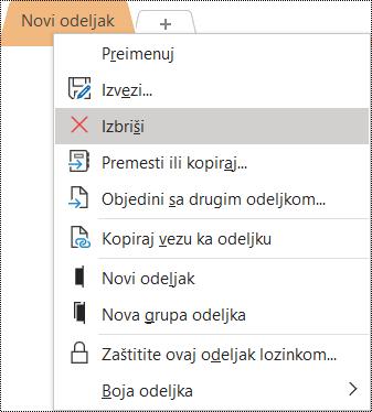 Snimak ekrana kontekstualnog menija za uklanjanje odeljka