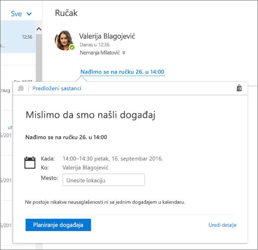"""Snimak ekrana e-poruke sa tekstom o sastanku i kartice """"Predloženi sastanci"""" sa detaljima sastanka i opcijama za planiranje događaja i uređivanje njegovih detalja."""